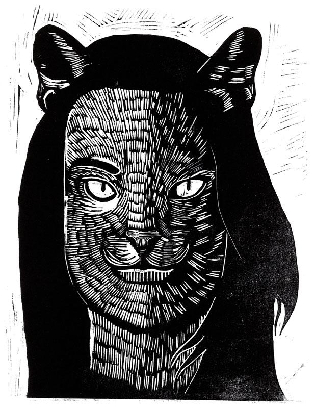 Laure Joyeux-artiste-Je est un Autre-Linogravure-Exposition Sangs Mêlés-Cour Mably- Bordeaux