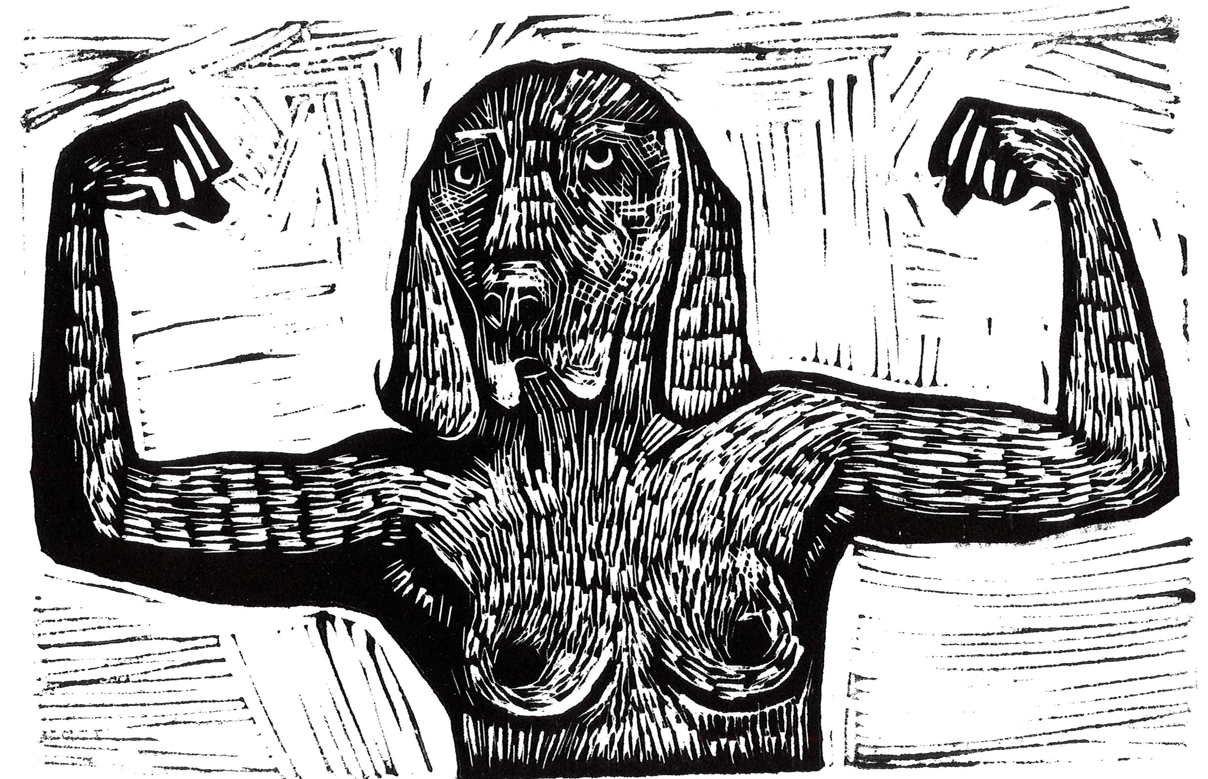 Laure Joyeux-artiste-24h dans la vie d'une chienne--Linogravure-Bordeaux
